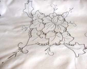 Vintage Embroidered Ecru Flowers Reticella Tablecloth w/ 8 matching Napkins Huge