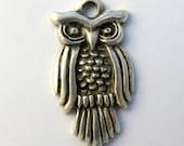 Owl Pendant, Silver Owl Pendant, Silver Owl Charm, Silver Bird Pendant, Silver Owl