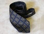 Silk Navy and Gold Printed Skinny Tie
