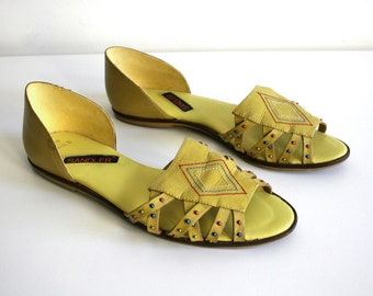 Yellow Embellished Sandals 8