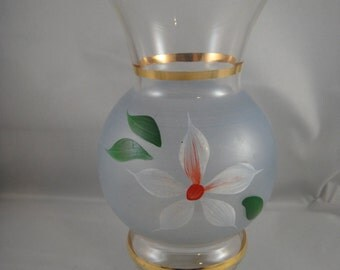 Glass Vase Frosted Blue in Middle with Hand Painted Flowers Gold Trim