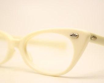 NOS Off White Cat Eye Glasses Unused vintage cateye frames eyeglasses NOS