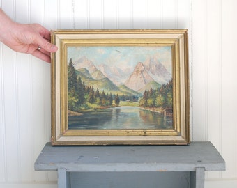 VINTAGE Oil Painting in Rustic Gilded Frame - Mountain and River Landscape