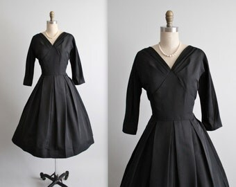 50's Cocktail Dress // Vintage 1950's Classic Black Rayon Faille Full Cocktail Party Evening Dress M