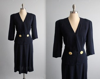 STOREWIDE SALE XL 40's Dress // Vintage 1940's Navy Rayon Peplum Surplice Day Dress Xl Volup