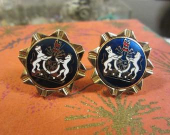 Swank Cufflinks/Royal Crest Enamel Cuff Links/ Enamel Cufflinks with Gold Tone Border
