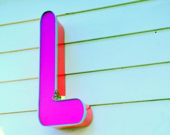 Vintage Marquee Sign Letter Capital 'L': Bright Dayglo Rose Pink Wall Hanging Initial -- Neon Channel Industrial Advertising Salvage
