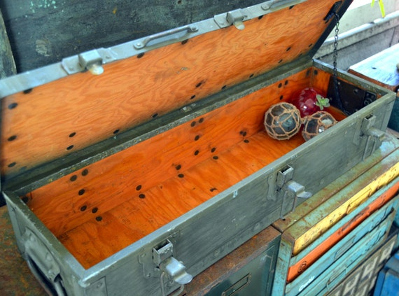 Long Military Weapon Stenciled Crate / Ammo Box / Cargo Trunk: