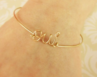 Oui Bracelet Oui Bangle, 14K Gold Fill or Sterling Filled, Oui Jewelry, French Jewelry, Bridesmaid Gifts, Bridesmaid Bracelet, Yes Oui Gifts