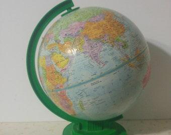 Vintage Replogie World Globe 1970's Green Base