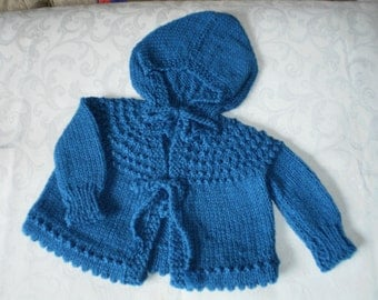 Knitted Boys Sapphire Blue Baby Hoodie in 6 to 12 months