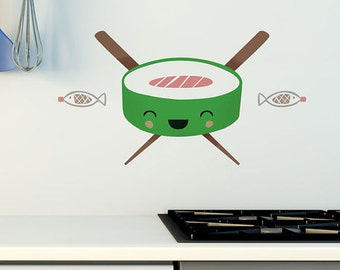 Happy Sushi Wall Sticker Kitchen Wall Decal Removable and Repositionable