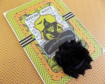 Halloween Embellished Card - Witches Dance - Blank Greeting - Orange Black Green