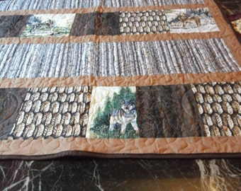 "WOLF LAP QUILT New/sofa throw/Tribal baby quilt/Wall Hanging 39""sq  Wolves/birch trees/feathers browns"