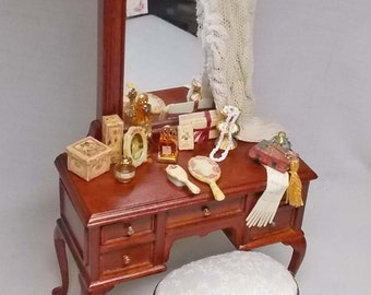 Dollhouse Miniature Filled Bespaq Walnut colour Filled Dressing Table and matching Stool