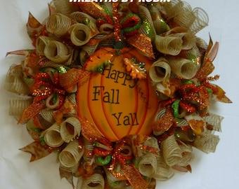 Happy Fall Y'all, Fall Pumpkin Wreath, Fall Decor