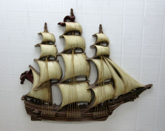 Vintage Large Burwood Nautical Clipper Sailing Ship Burwood Wall Plaque 289