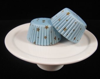 Blue w/Gold Stars Mini Cupcake Liners, Mini Baking Cups, Mini Muffin Papers, Mini Candy Paper, Cake Pop Papers, Truffle Cases  - QTY. 25