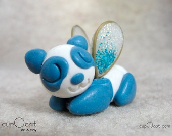 Panda Nap - A Happy Napping Panda Fairy (Blue and white panda with blue & iridescent wings)