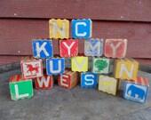 Wooden Blocks 1940s 1950s Ridged Block Alphabet 17 pcs
