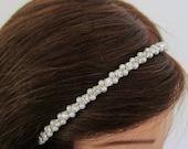 ON SALE Bride Headband. Bridal Pearl Headband. Rhinestone Crystal Headband. SUMMER