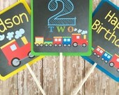 train birthday centerpieces, choo choo train centerpieces, custom train party center pieces, chalkboard birthday table toppers, 2nd birthday