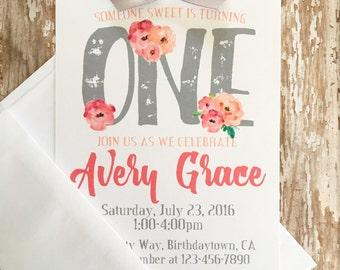 12 floral 1st birthday invitations, printed watercolor flower 1st birthday invitations, watercolor flower ONE invite, first birthday invites
