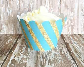 blue and gold stripe cupcake wrappers, gold and aqua striped cupcake wrappers, turquoise wedding cupcake wrappers, set of 24