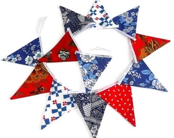 LONGER Country Cottage Bunting Vintage with ROSES and red, white and blue Fabric