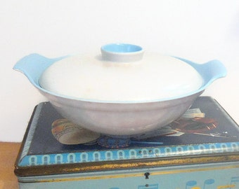 Poole Plate Twintone  Sky Blue and Dove Grey Lidded Serving Dish Bowl Retro Vintage Pottery