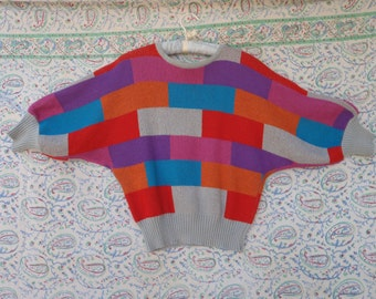 Vintage 80s Color Block Bat Wing Sweater