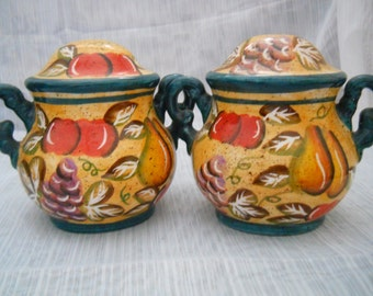 Fall Pattern Salt and Pepper Shakers - vintage, collectible, fall, autumn
