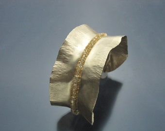 Fold-formed NuGold Brass and Citrine Cuff