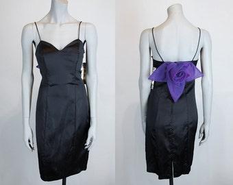 Vintage 90s Dress / 1990s Deadstock Minimalist Avant Garde Black Satin Dress S