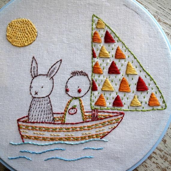 Sail Away hand embroidery pattern pdf