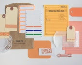 Planner Kit . DIY Tag + Embellishment Collection . Orange Set 1 . Scrapbooking Mixed Media Mini Album Midori Travelers Notebook Listers List