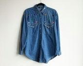 Vintage 90s Bedazzled Oversize Blue Denim Shirt / Gem Button Up Blouse / Size Large