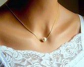 Floating Pearl Necklace In Gold Chain With 10MM Cream Swarovski Crystal Pearl 17 Inches