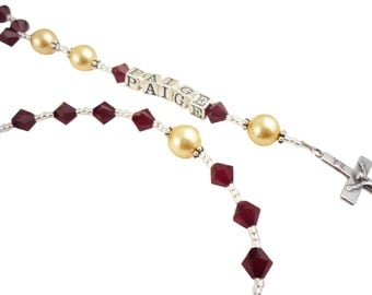 Custom Rosary- gold siam red-Christening Rosary, Catholic,  Baptism, First Communion, Name , Baby, Godparent Wedding Gift, prayer beads