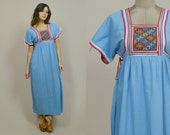 70s Boho Dress Ethnic Sky Blue Embroidered Bib Short Sleeve Maxi Dress Boho 1970s Hippie Guatemalan Cotton Tunic  Stripes / S M Small Medium