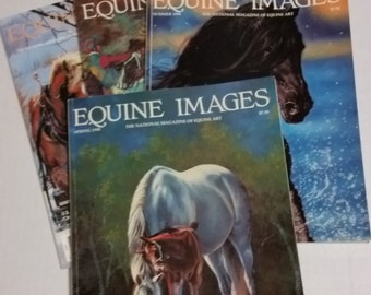 Equine Images magazine 1990, vintage 4 issues, equine art