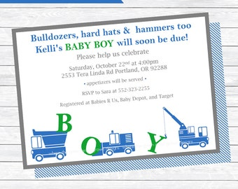 Construction Baby Shower Invitations