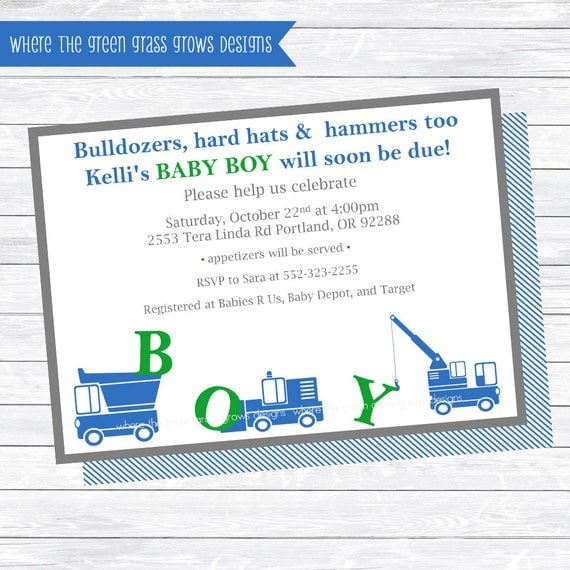 Construction Baby Shower Invitations
