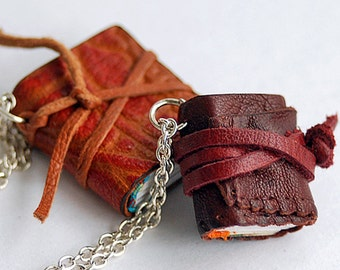 Duet, tiny leather  journals or books, handmade, miniature, jewelry art, necklace, accessory, JunqueTreasures