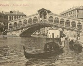 VENICE Venezia Ponti di Rialto Unused Antique Postcard Black and White View of this Famous Bridge Gondola and Life on the Grand Canal