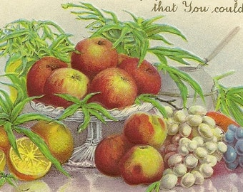 Vintage Thanksgiving Postcard Table Set With Harvest Bounty Stecher Litho Apples Oranges Grapes