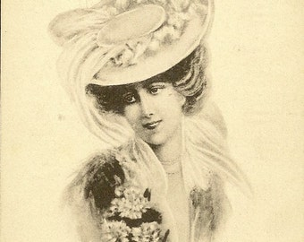 Elegant Edwardian Victorian Lady in Fancy Hat Artist Signed Black and White Antique Postcard 1911