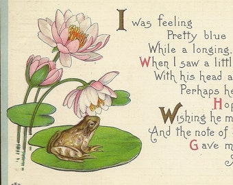 Vintage Friendship Postcard James E Pitts Stecher Litho Frog on Lily Pad with Pink Water Lilies 1916