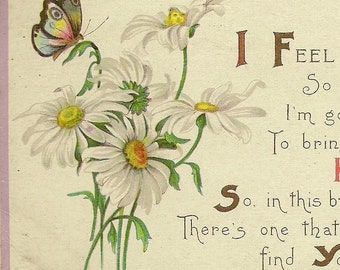 Vintage Friendship Postcard James E Pitts Stecher Litho Daisies and Butterflies 1921