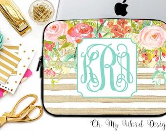 Monogram Laptop Sleeve-Water Color Flowers-Laptop Sleeve-Laptop Sleeve-Neoprene Laptop Sleeve-Laptop Cover